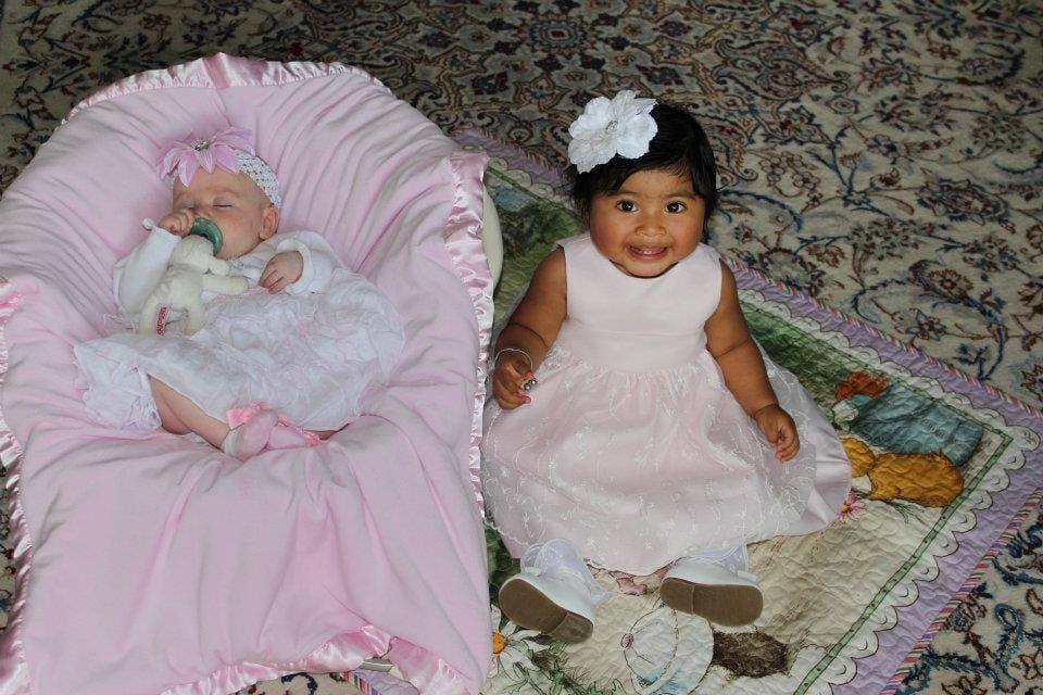 """Brielle and the foster daughter we had. Her nickname was """"Little Bit"""" because she was so small when we got her."""