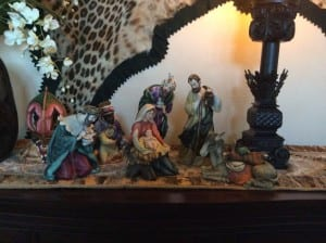 Nativity scene that my Parents gave me more than 10 years ago. I love this one too! We have two additional nativity sets that I still need to set out. One is from Africa and one is from Guatemala, purchased on trips while there.