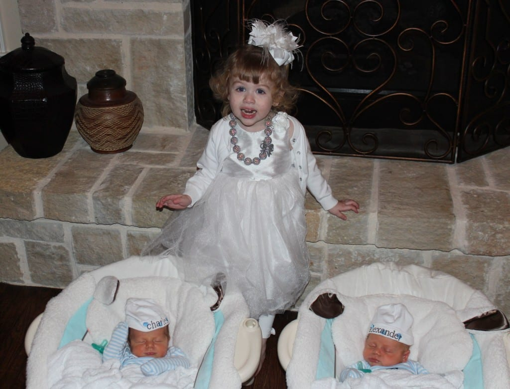 Brielle, age 2, Her brothers were born when she was 23 months old.