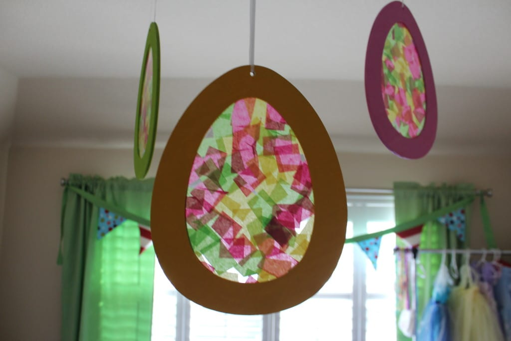 The kids love the Easter eggs hanging in their playroom. They love them because they made them!